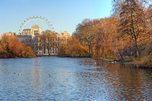 Stock Photo: 4282-16910 England, London, St James Park. View across a lake in St James Park towards Horseguards Parade and the London Eye.