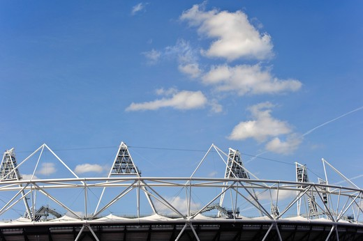Stock Photo: 4282-17059 England, London, Stratford. The Olympic stadium in Stratford, host to the athletics events, opening and closing ceremonies of the London 2012 Olympic and 2012 Paralympic Games.