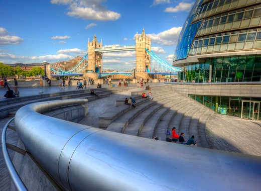 England, London, South Bank. View past City Hall on the south bank of the River Thames towards Tower Bridge. : Stock Photo