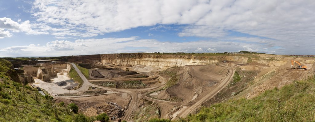 Stock Photo: 4282-17155 England, Tyne and Wear, Sunderland. Panoramic view of Marsden Quarry, a limestone quarry operated by Owen Pugh Aggregates Ltd.