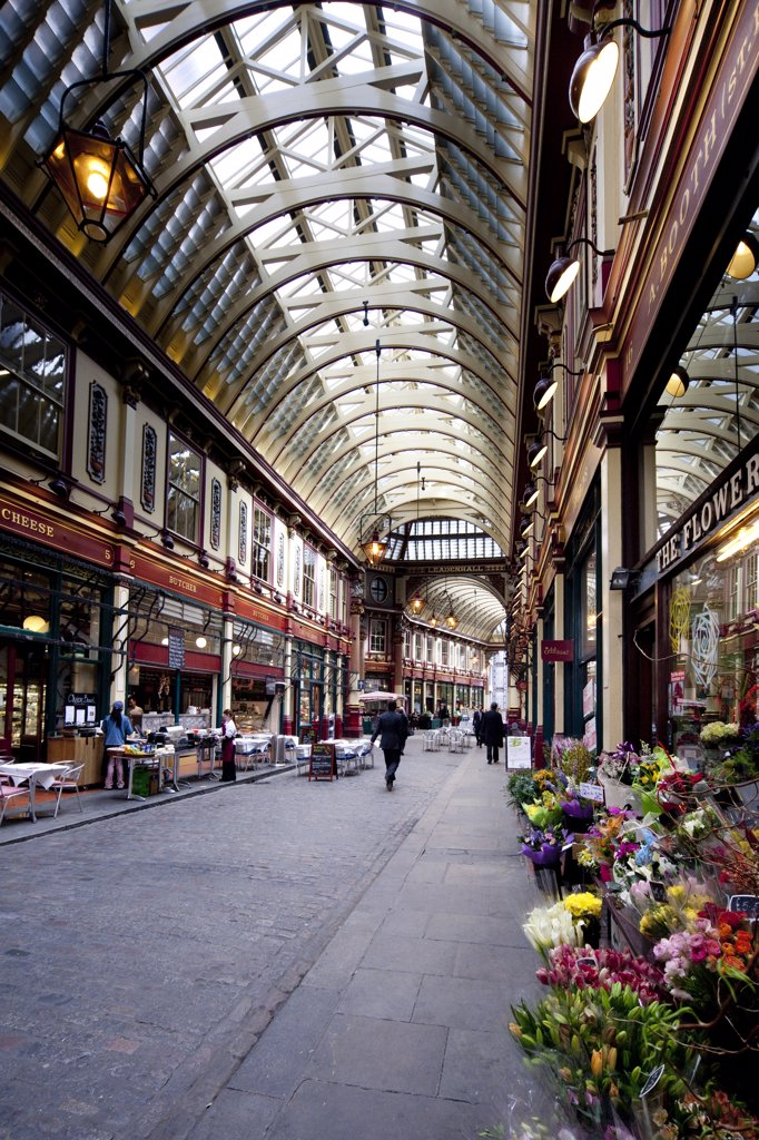Stock Photo: 4282-17455 England, London, The City of London. Leadenhall Market, a covered market in the City of London dating back to the fourteenth century.