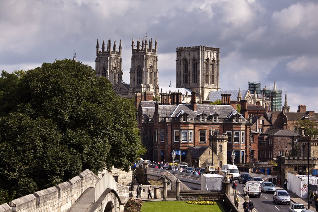 Stock Photo: 4282-17508 England, North Yorkshire, York. York Minster viewed from the City Walls at Station Road.