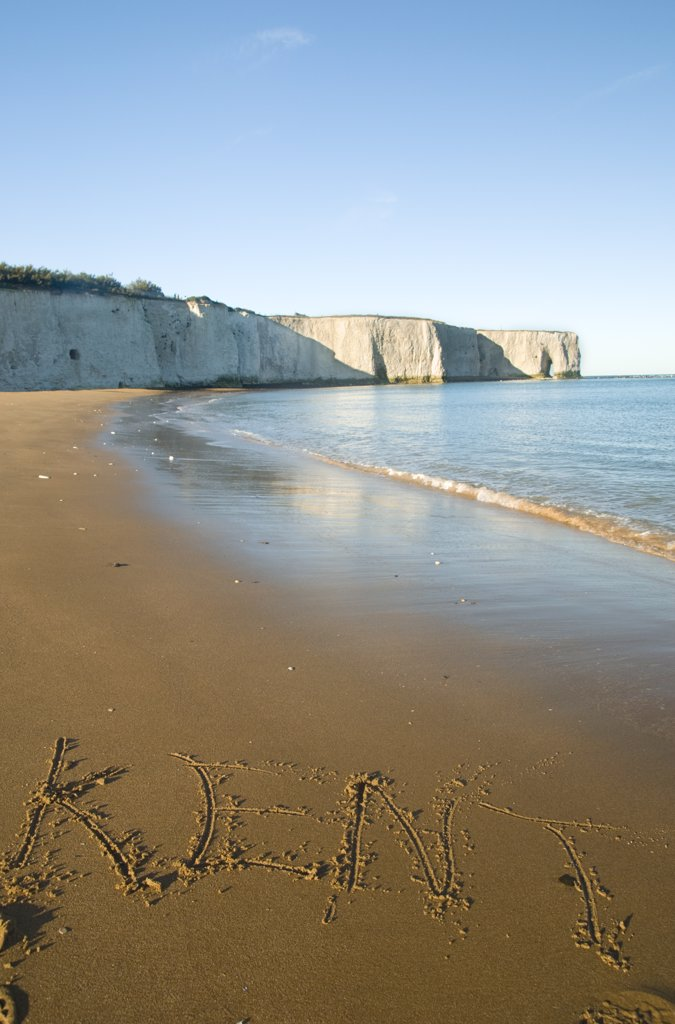 Stock Photo: 4282-1761 England, Kent, Botany Bay. A view along the beach towards a natural hole in the chalk cliff at Botany Bay on the east coast of Kent.
