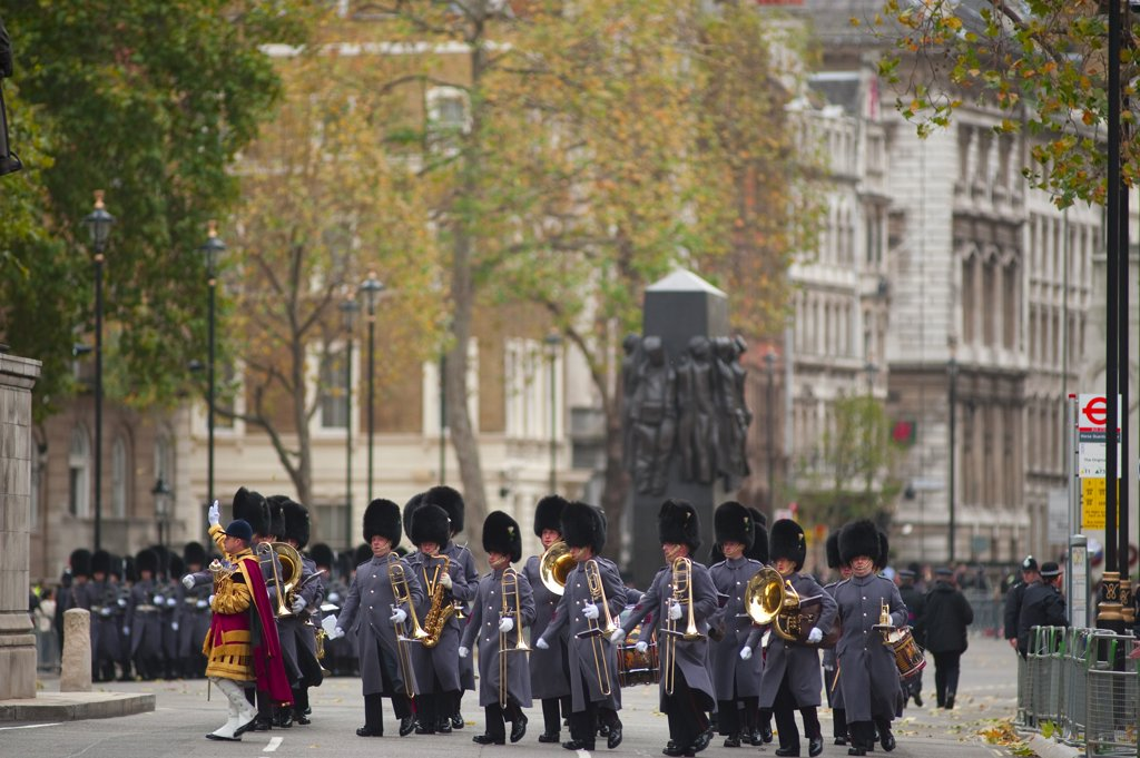 Stock Photo: 4282-17613 England, London, Westminster. Band of the Welsh Guards marching in Whitehall during the State Opening of Parliament in central London.