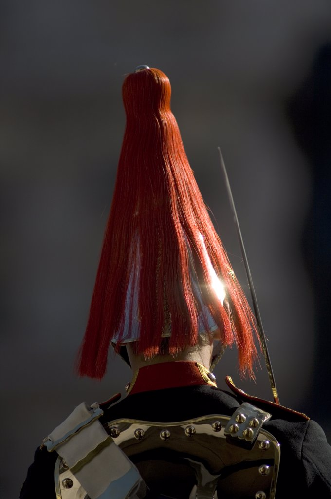 Stock Photo: 4282-17713 England, London, Whitehall. The plumed helmet of a guard in the Blues and Royals regiment on sentry duty in Whitehall, central London.