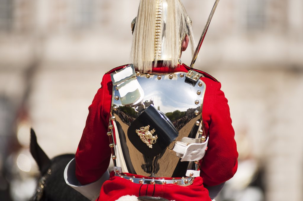 Stock Photo: 4282-17812 England, London, Horse Guards Parade. A mounted Life Guard taking part in the Changing of the Guard ceremony in Horse Guards Parade in central London on the Royal Wedding route.