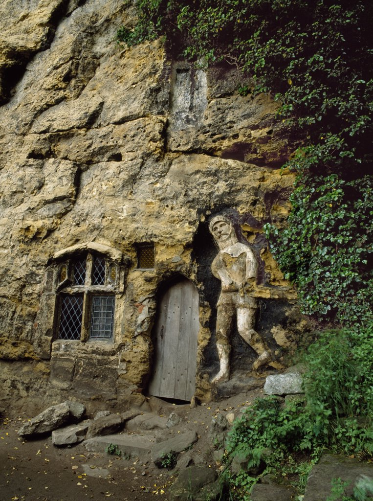England, North Yorkshire, Knaresborough. The wayside shrine Chapel of Our Lady of the Crag was founded in 1408 by John the Mason as thanks for the miraculous saving of his young son. : Stock Photo