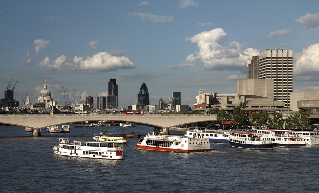England, London, London. A view from the Golden Jubilee Bridge towards the City of London. : Stock Photo