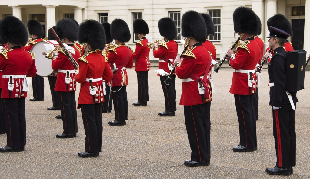 England, London, Whitehall. Changing of the Queen's Guard at Whitehall in London. : Stock Photo