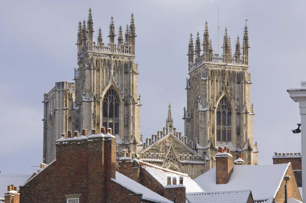 Stock Photo: 4282-18421 England, North Yorkshire, York. The West towers of York MInster, built between 1220 and 1472. The Minster is the largest gothic cathedral in northern Europe.