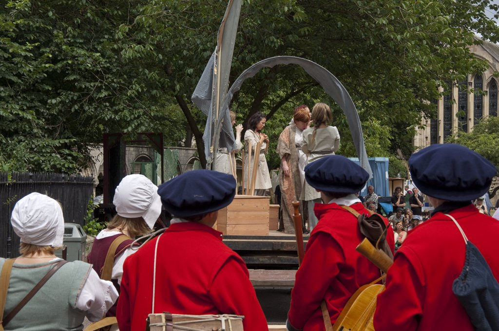 England, North Yorkshire, York. Performance of Abraham and Isaac in the York Mystery Plays in Deans Park. : Stock Photo