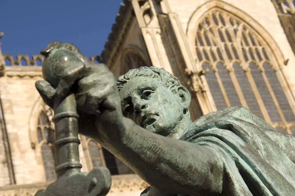 Stock Photo: 4282-18899 England, North Yorkshire, York. Constantine the Great bronze statue outside the South Transept of York Minster