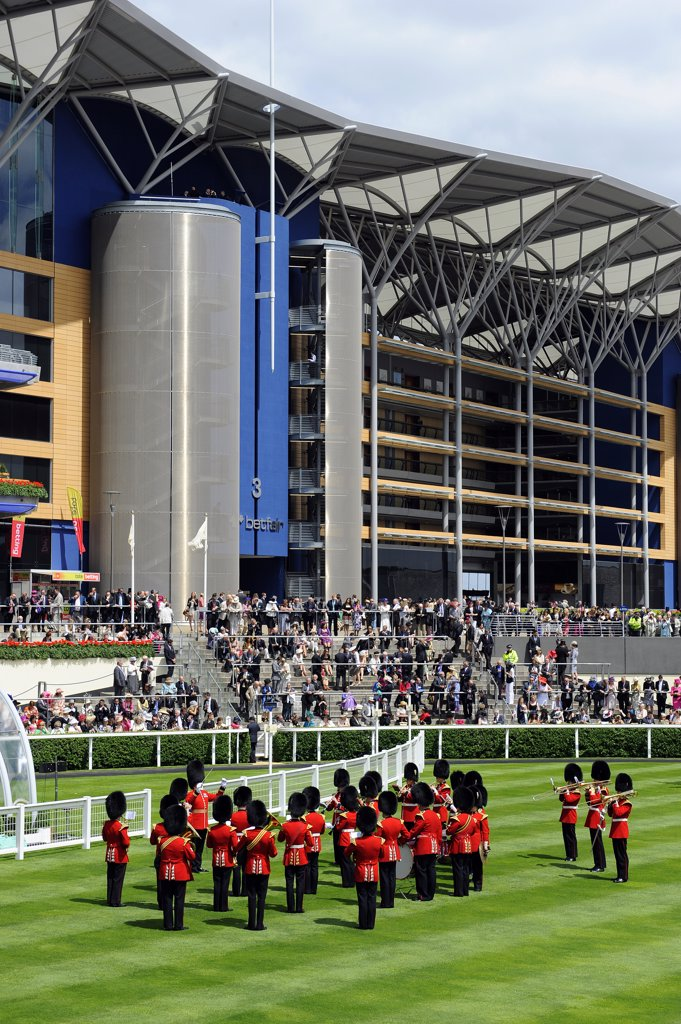 Stock Photo: 4282-19030 England, Berkshire, Ascot. A military band performing in the parade ring during day one of Royal Ascot 2010.