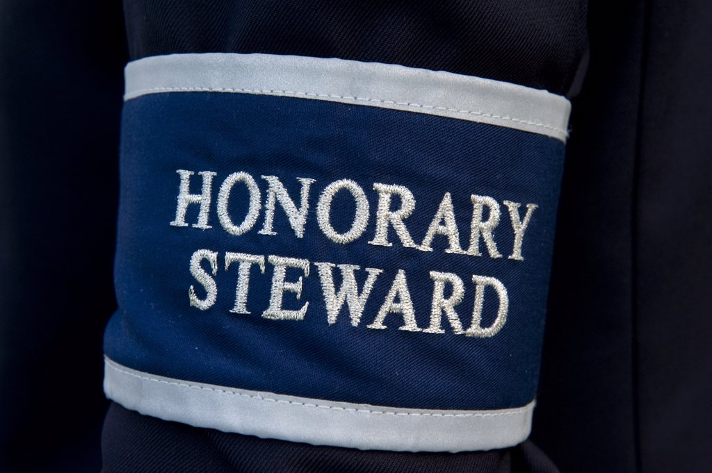 England, London, Wimbledon. An Honorary Steward armband being worn during the Wimbledon Tennis Championships 2010. : Stock Photo