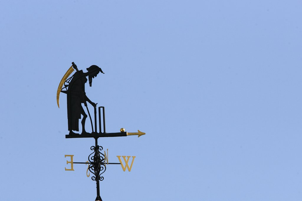 Stock Photo: 4282-19329 England, London, St Johns Wood. Old Father Time weather vain at Lord's Cricket Ground.