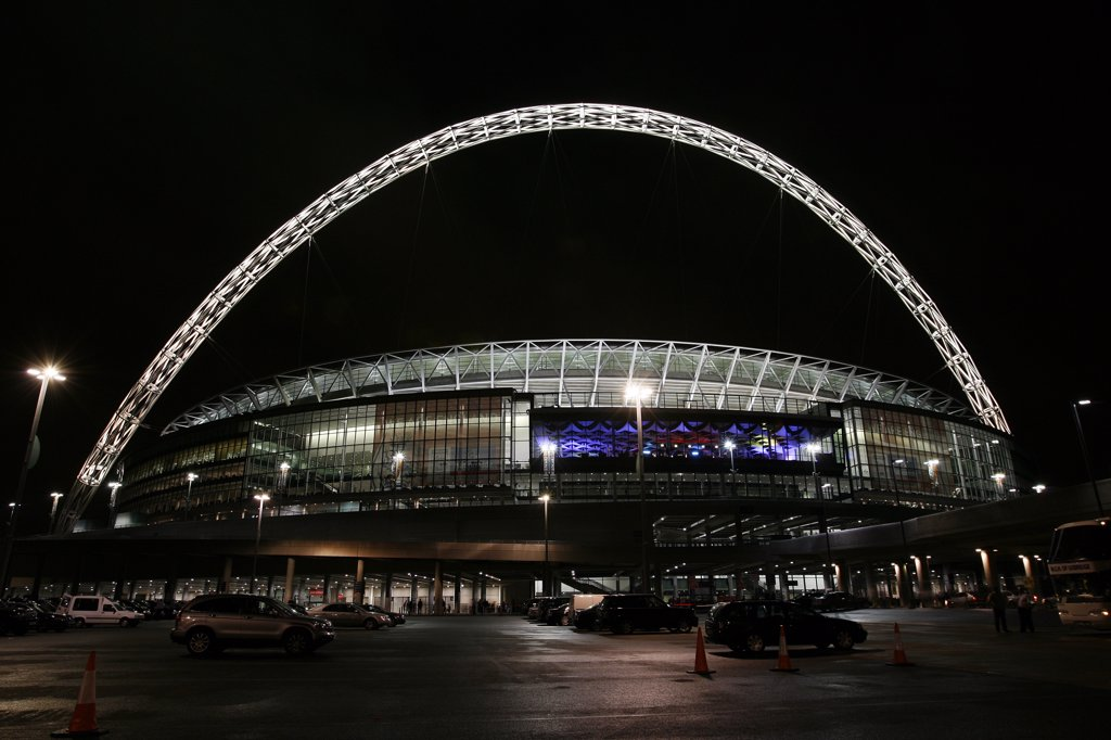 Stock Photo: 4282-19481 England, London, Wembley. View outside the new Wembley Stadium lit up at night.