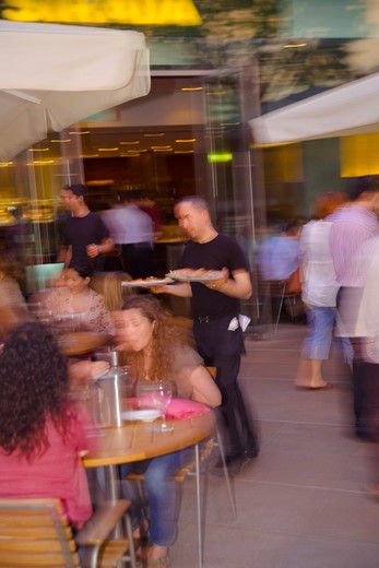 Stock Photo: 4282-20358 England, London, South Bank. People dining al fresco at a cafe in the Southbank Centre by the Royal Festival Hall.