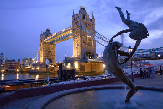 Stock Photo: 4282-20427 England, London, Tower Bridge. Girl with a Dolphin by David Wynne 1973 on the north side of the River Thames by Tower Bridge.
