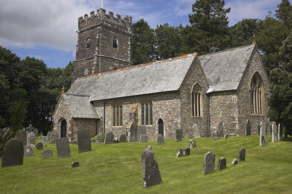 Stock Photo: 4282-20724 England, Somerset, Exford. St Mary Magdalene church in the Exmoor village of Exford.