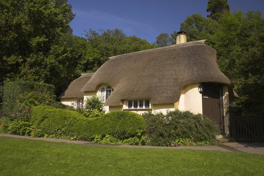 Stock Photo: 4282-20730 England, Somerset, Selworthy. A thatched cottage in the village of Selworthy within the Exmoor National Park.