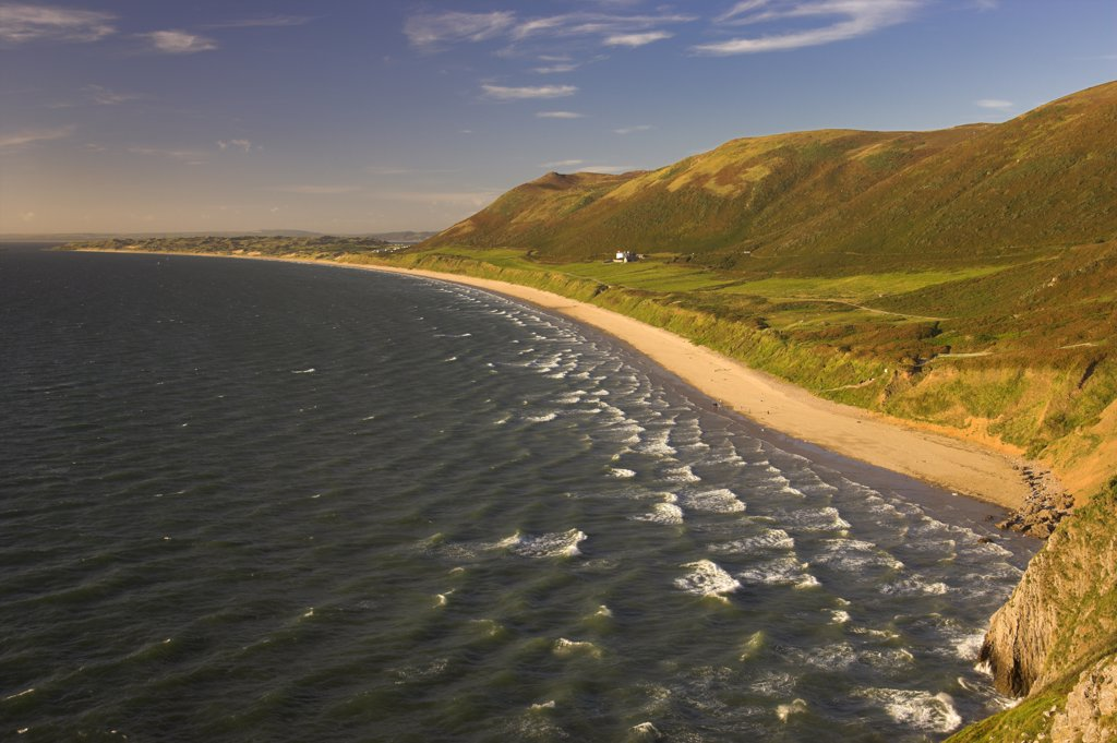 Wales, Swansea, Rhossili Bay. Rhossili Bay looking across to the tidal island Burry Holms on the Gower Peninsula. : Stock Photo