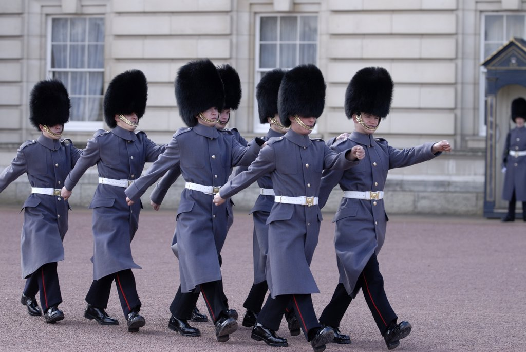 Stock Photo: 4282-21483 England, London, Buckingham Palace. Changing the guard at Buckingham Palace.