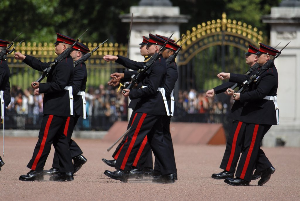 Stock Photo: 4282-21497 England, London, Buckingham Palace. Changing of the Guard ceremony at Buckingham Palace.