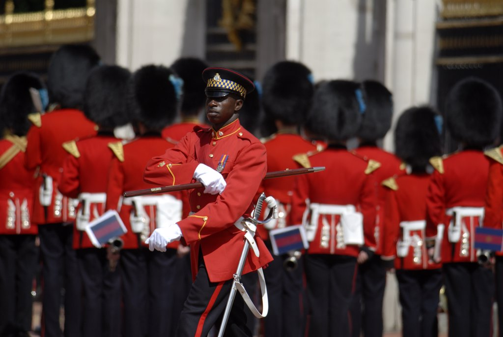 Stock Photo: 4282-21499 England, London, Buckingham Palace. Changing of the Guard ceremony at Buckingham Palace.