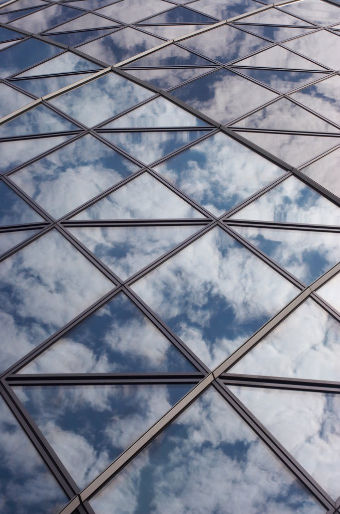 Stock Photo: 4282-21519 England, London, The City. Abstract of Gherkin Windows. 30 St Mary Axe to use the formal title of the building  is 180 m (590 ft) tall, making it the second-tallest building in the City of London.