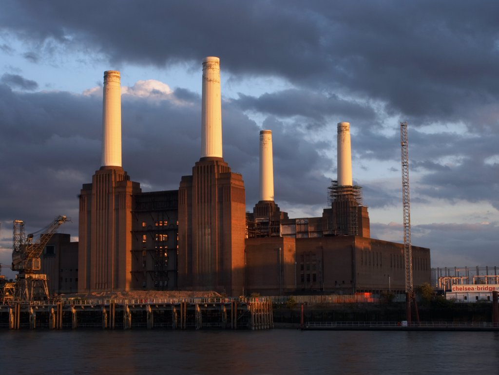Stock Photo: 4282-21522 England, London, Battersea. Battersea Power Station at last light.
