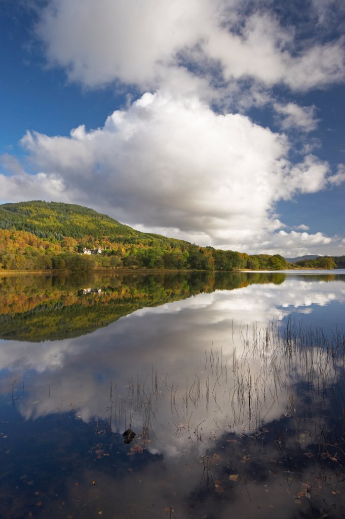 Scotland, Perthshire, Stirling. Loch Achray Reflections. It lies between Loch Venachar and Loch Katrine, 7 miles (11 km) west of Callander and has a surface area of 82 ha (202.6 acres) and a mean depth of 11m (36 feet). : Stock Photo
