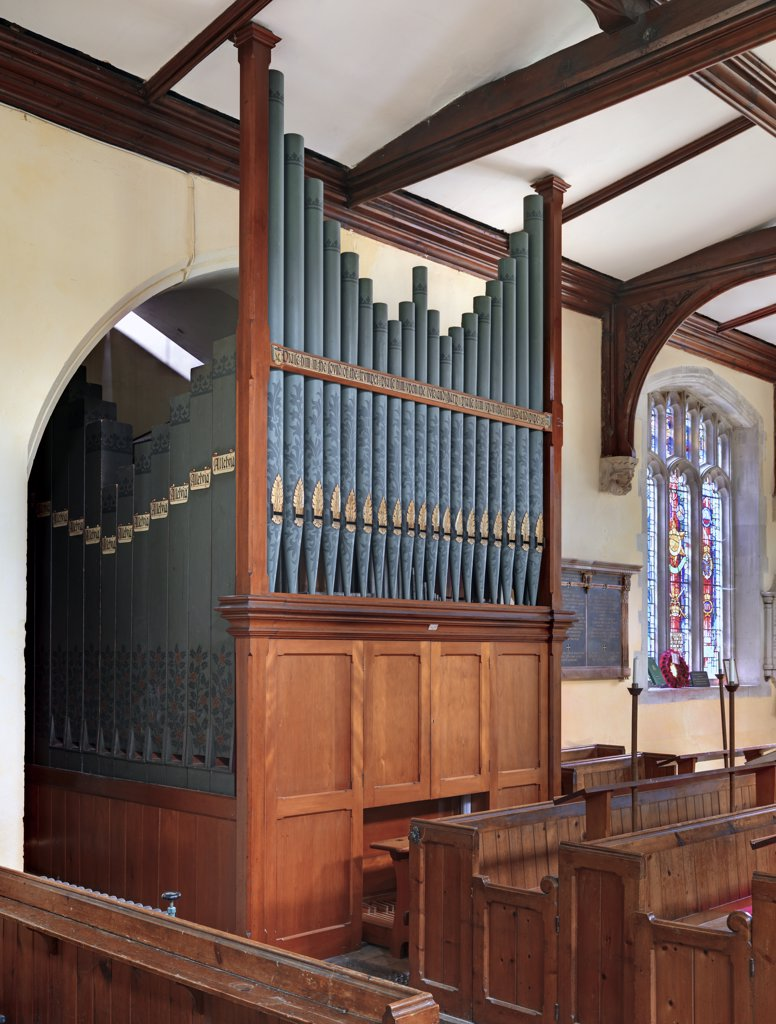 England, Hertfordshire, Barkway. The pipe organ in St. Mary Magdalene Church in Barkway. : Stock Photo