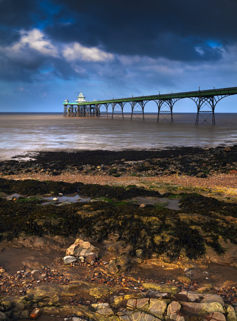 Stock Photo: 4282-22298 England, Somerset, Clevedon. Clevedon Beach and Pier in the Severn Estuary at Sunrise.