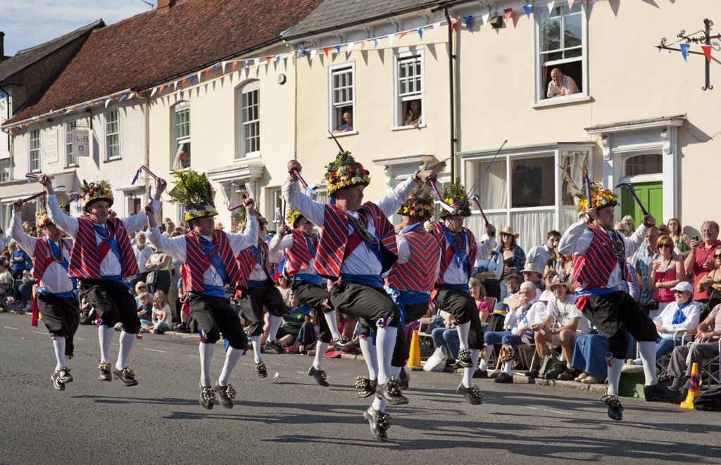 England, Essex, Thaxted. Morris Dancing at the Centenary Morris Dancing Festival in Thaxted. 2011 is the centenary of the founding in December 1911 of the English Folk Dance Society by Cecil Sharp and the Thaxted Morris and Folk Song Company by Miriam Noel eleven months earlier in January 1911. : Stock Photo