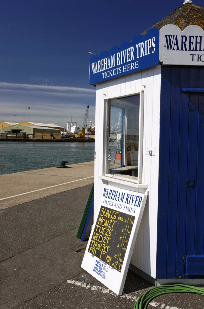 Stock Photo: 4282-22381 England, Dorset, Poole. A ticket booth selling Wareham River Trips in Poole.