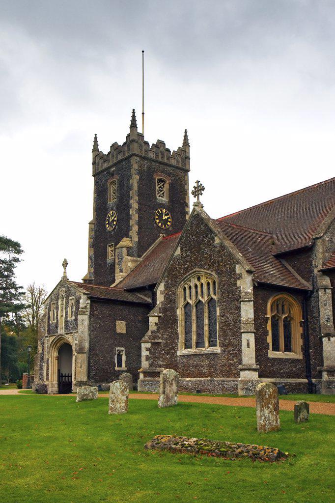 Stock Photo: 4282-22493 England, Norfolk, Sandringham. An exterior view of St Mary Magdalene church on the Royal Sandringham estate in Norfolk.