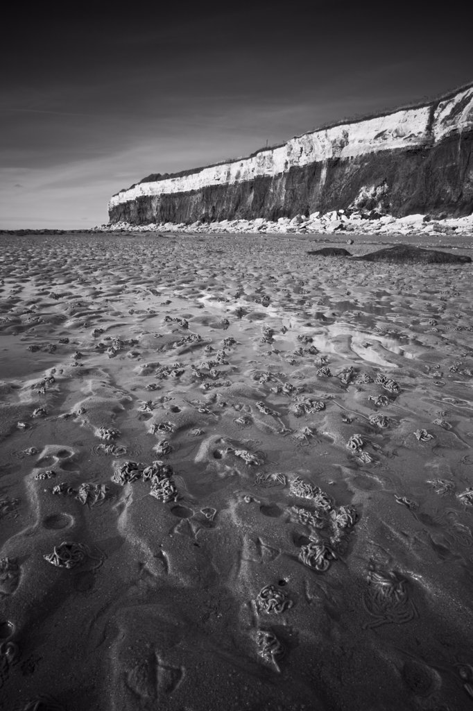 Stock Photo: 4282-22571 England, Norfolk, Hunstanton. Worm casts on the beach at Hunstanton by its stratified, fossiliferous cliffs.
