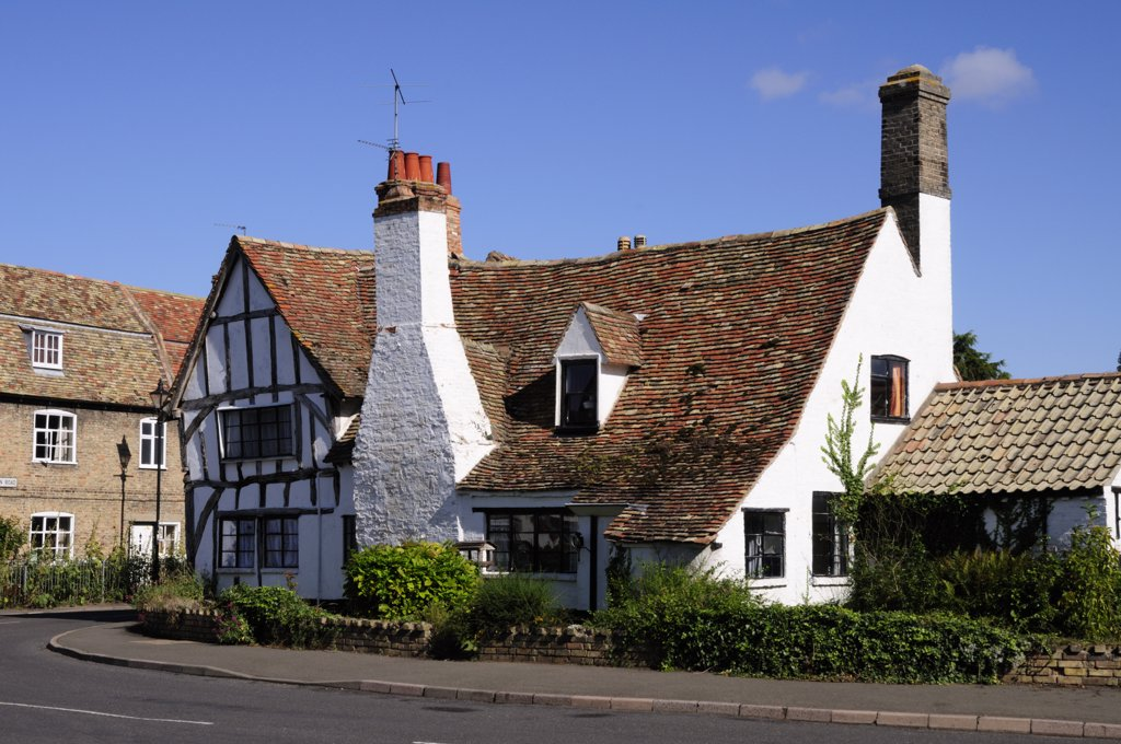 Stock Photo: 4282-2261 England, Cambridgeshire, Houghton. A half-timbered house in the village of Houghton.