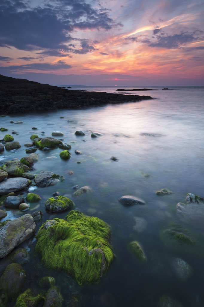 Stock Photo: 4282-22663 Wales, Anglesey, Penmon. Sunset over green seaweed covered rocks at Penmon point on the Isle of Anglesey.