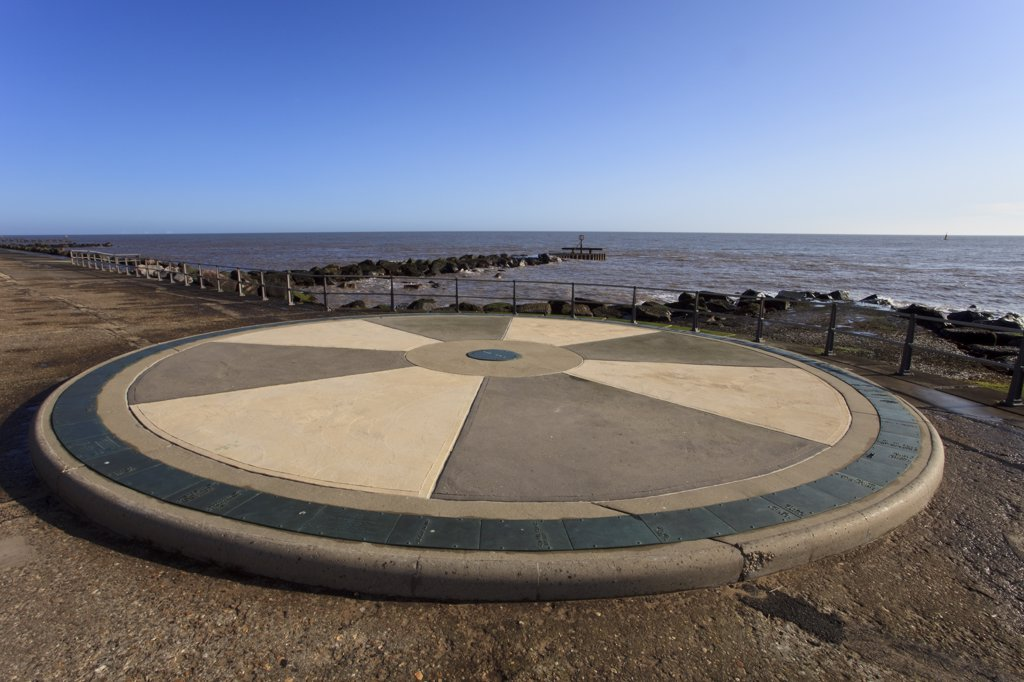 Stock Photo: 4282-22721 England, Suffolk, Lowestoft. The Euroscope at Ness point, a plaque at Lowestoft marking Britain's most easterly point.