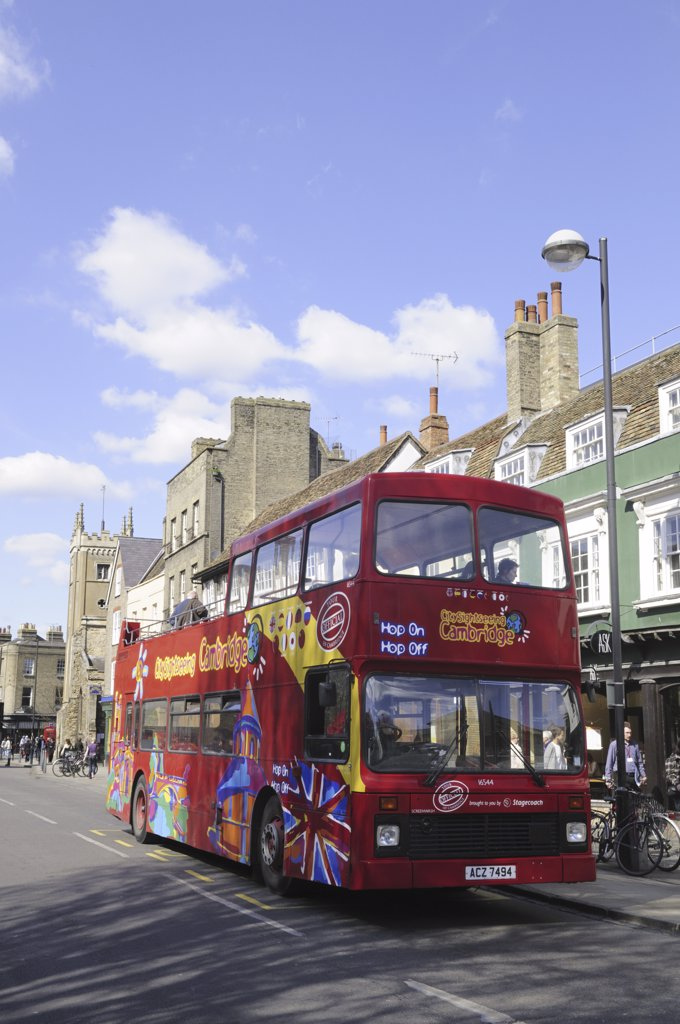 Stock Photo: 4282-2274 England, Cambridgeshire, Cambridge. A double decker City Sightseeing tourist bus on Bridge Street.