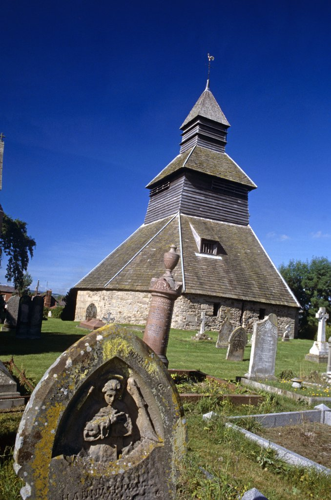 Stock Photo: 4282-22840 England, Herefordshire, Pembridge. The Bell Tower in Pembridge is unique in England. Structurally, it is related to the stave churches of Norway and the bell houses of Sweden.