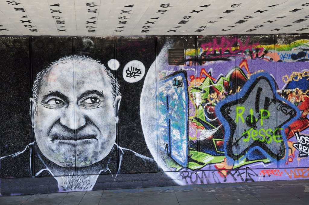 England, London, South Bank. Graffiti under the Southbank Centre. : Stock Photo