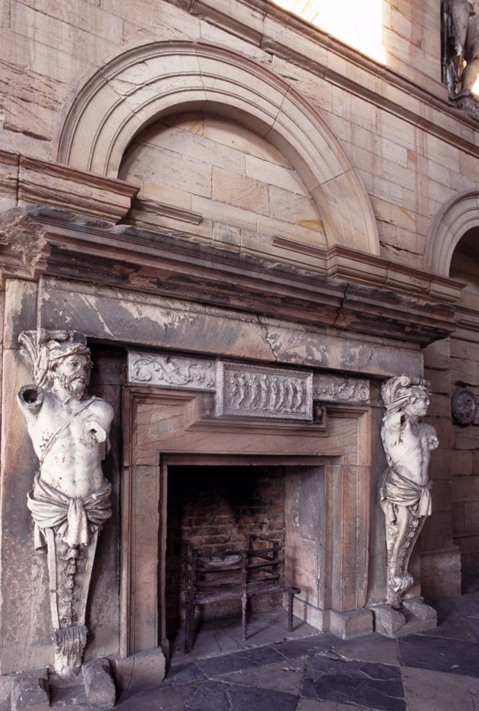 Stock Photo: 4282-22863 England, Northumberland, Seaton Delaval. Fireplace in the entrance hall of Seaton Delaval Hall, considered to be Sir John Vanburgh's final masterpiece.