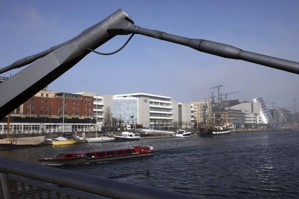 Stock Photo: 4282-22874 Republic of Ireland, Dublin, Dublin. North Wall, Dublin Docklands from the Millennium Bridge over the River Liffey.