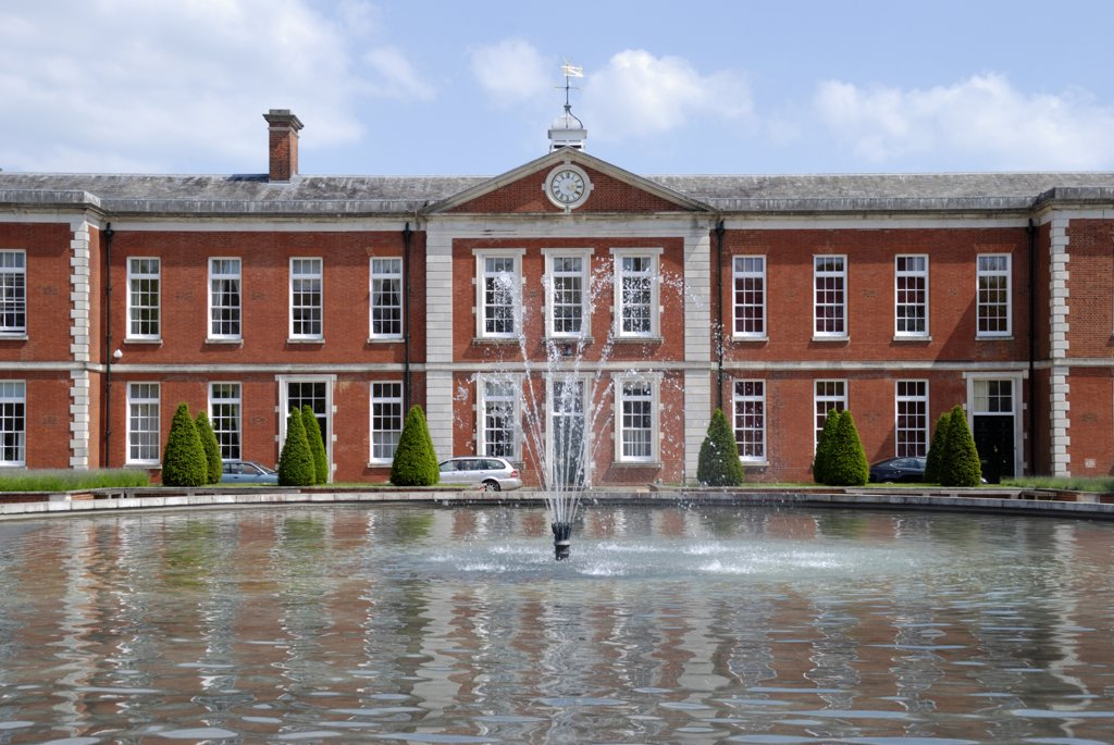 Stock Photo: 4282-23298 England, Hampshire, Winchester. Peninsula Square, formerly home to a military barracks, is now one of the most desirable places to live in Winchester.