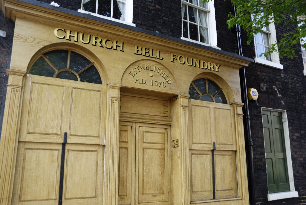 Stock Photo: 4282-23324 England, London, Whitechapel. Whitechapel Bell Foundry in Whitechapel. The Church Bell Foundry is listed in the Guinness Book of Records as Britain's oldest manufacturing company.