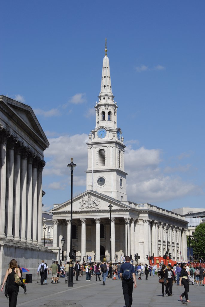 England, London, Trafalgar Square. A view to the recently restored St Martin's in the Field church in Trafalgar Square. : Stock Photo