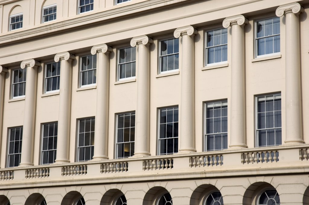 Stock Photo: 4282-23709 England, London, Regent's Park. Luxurious terraced apartment facade in York Gate.