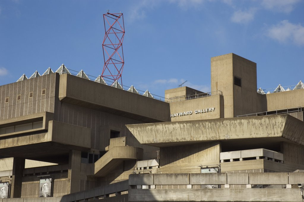 Stock Photo: 4282-23727 England, London, South Bank. The Hayward Gallery and part of the South Bank complex of concrete buildings.